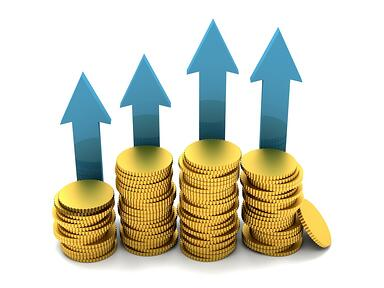 Money in coins with arrows pointing up isolated
